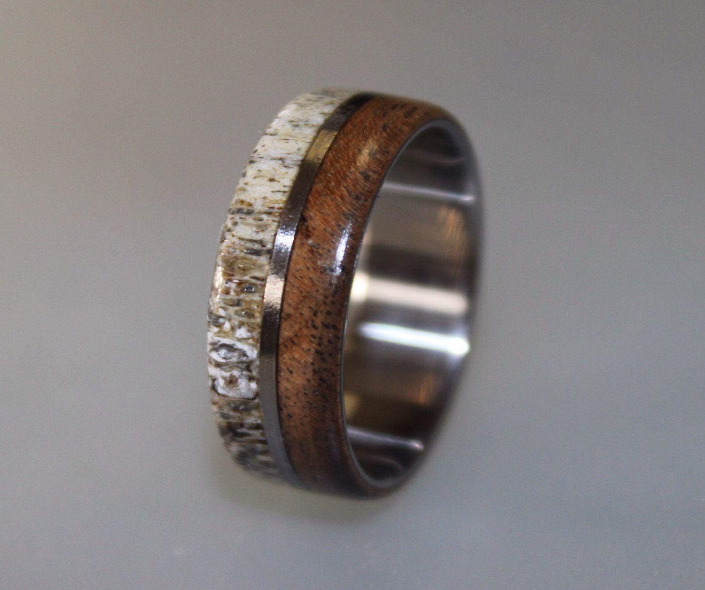 deer wedding bands Titanium Ring Deer Antler Ring Antler Ring Mens Titanium Wedding Band Oak