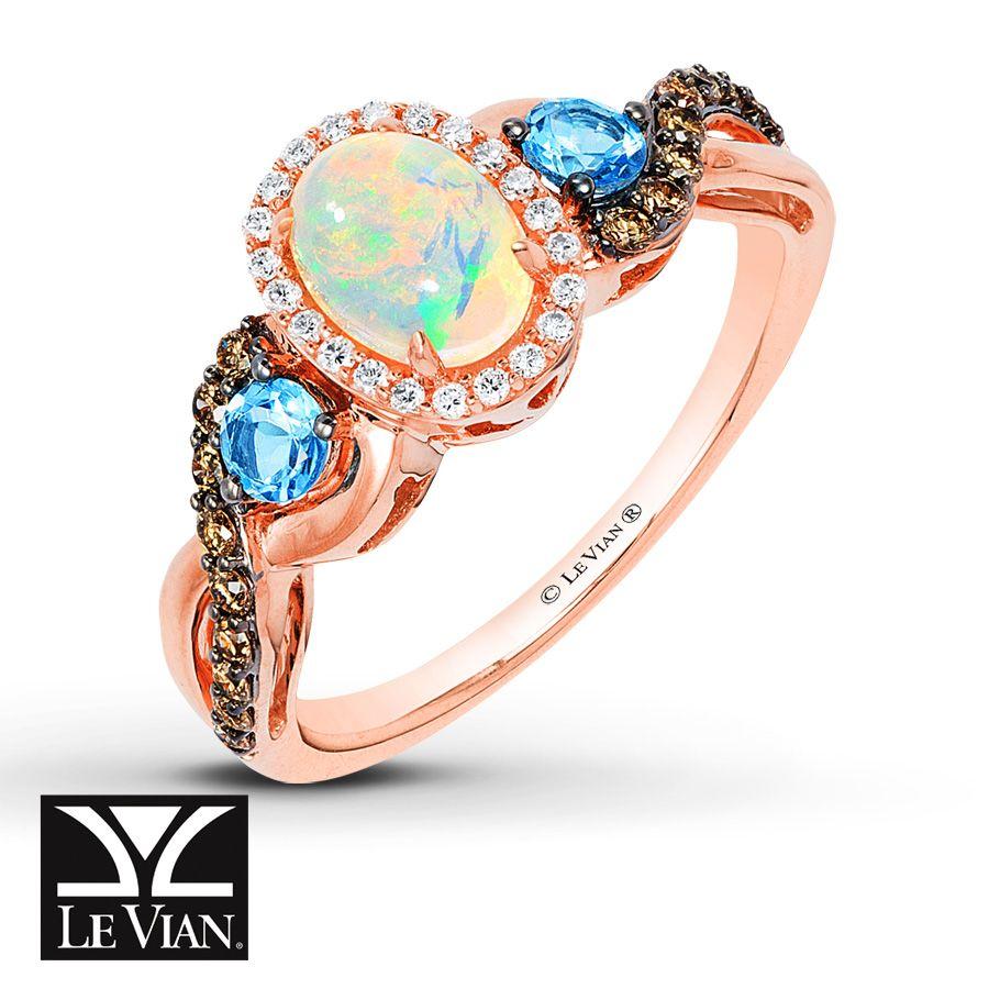 le vian wedding bands LeVian Opal Ring 1 4 ct tw Diamonds 14K Strawberry Gold