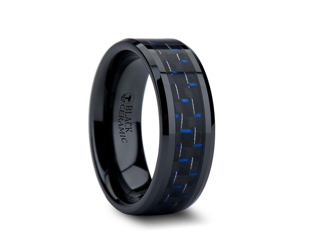 black mens wedding rings 8mm AVITUS Black Beveled Ceramic Ring with Blue Black Carbon Fiber Inlay