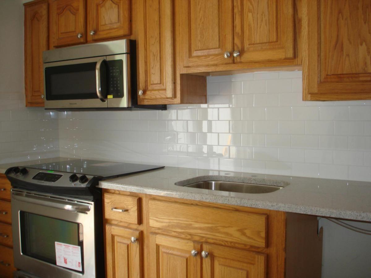 kitchen subway tile backsplash subway tile kitchen backsplash Clean and simple kitchen backsplash white subway tile and
