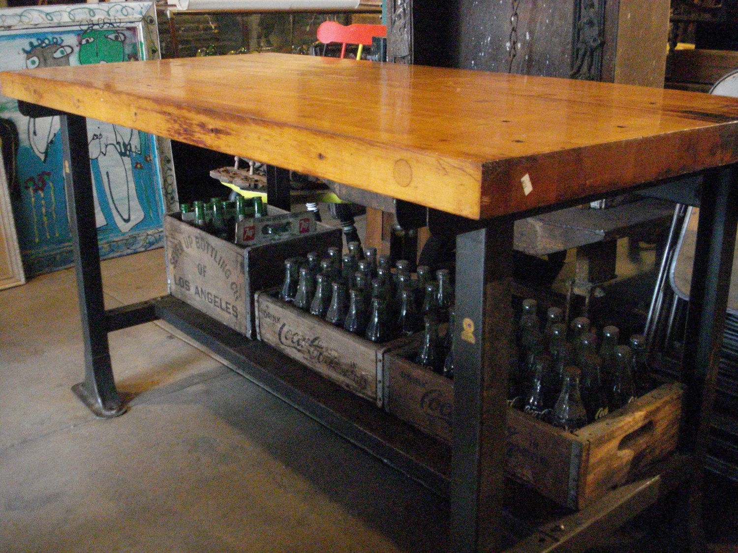 kitchen cutting table Antique Butcher Block Table with metal base and lower shelf via Etsy