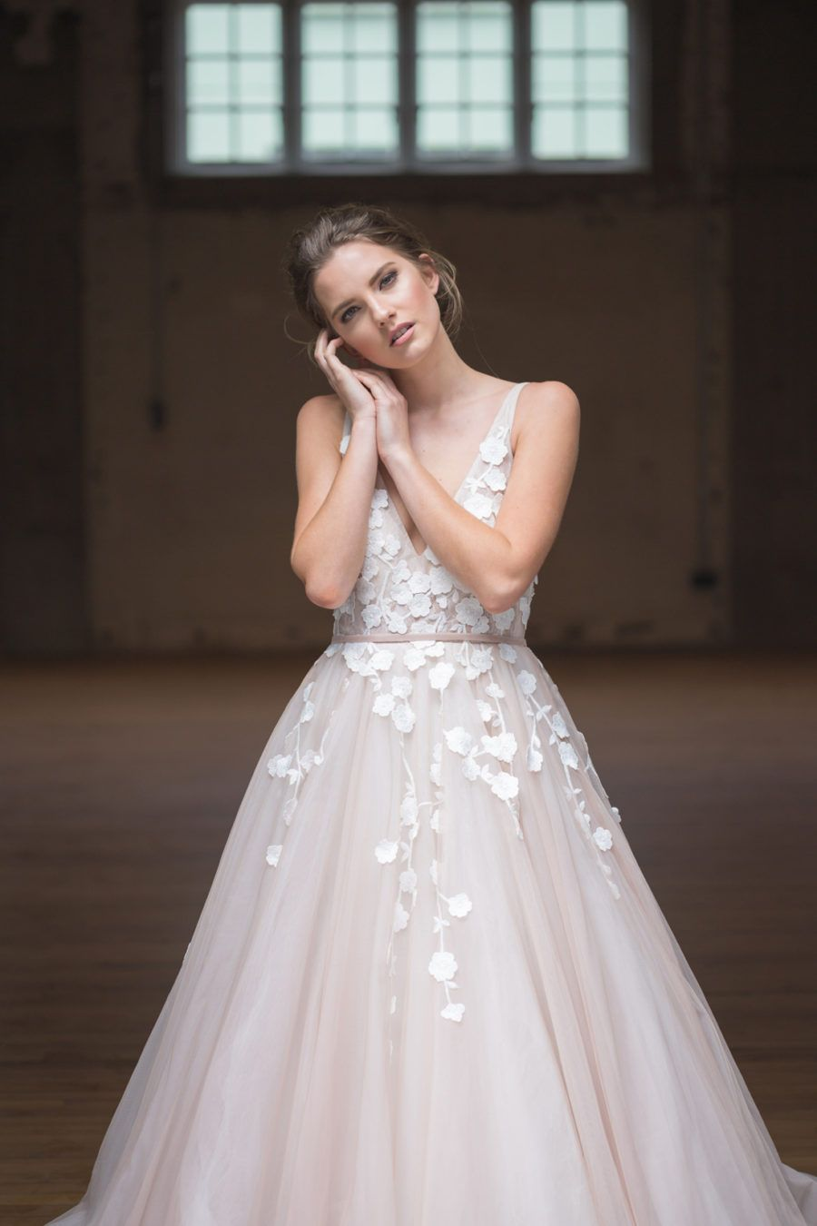 blush tulle wedding dress blush tulle wedding dress with floral applique