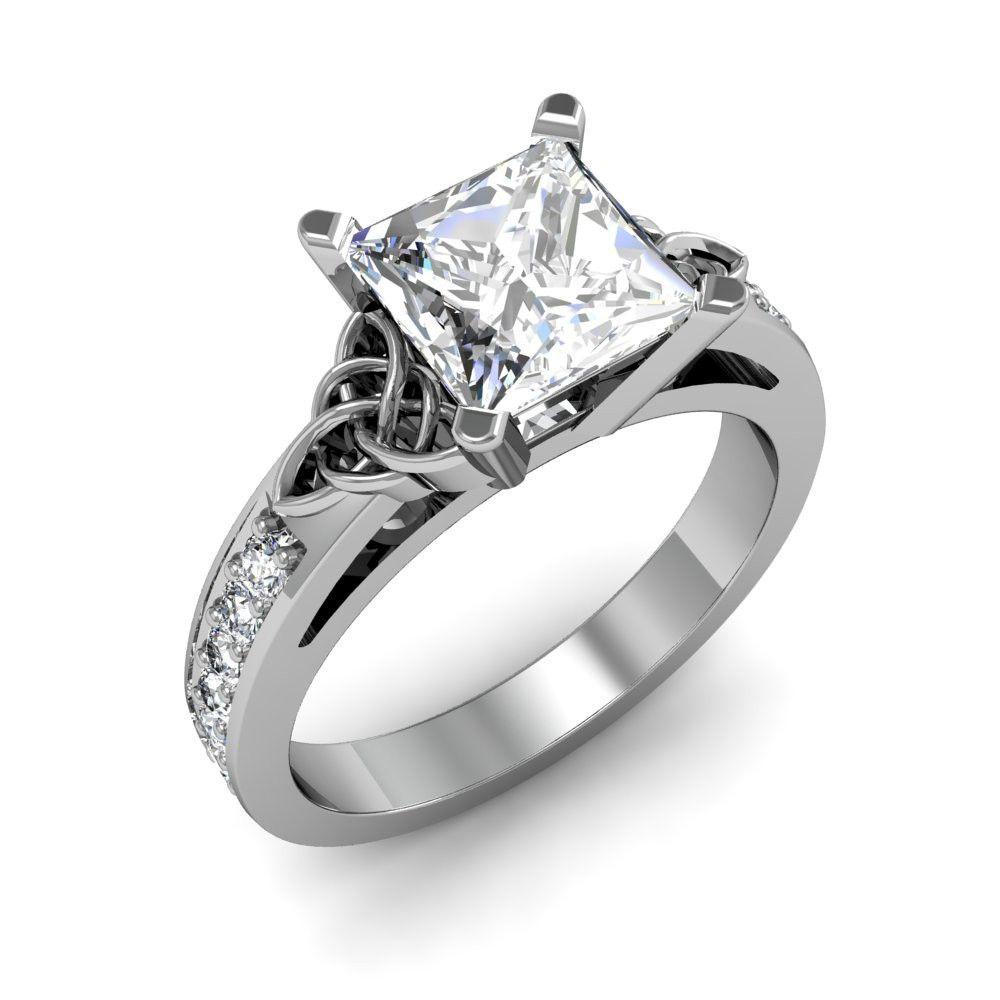 irish wedding rings 1 42ct natural diamond asscher cut celtic knot design pave natural diamonds engagement ring 14k white gold gia