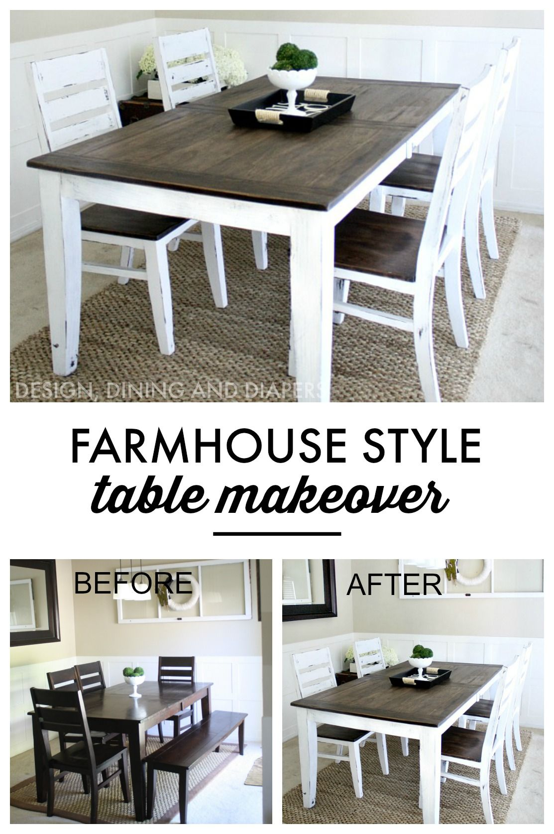 country kitchen tables Farmhouse Table Makeover