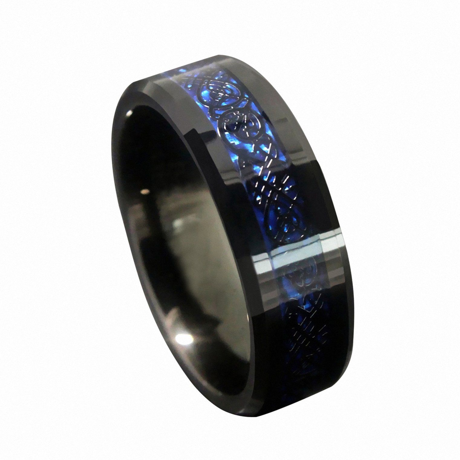wedding bands for nurses Queenwish 8mm Blue Black Silvering Celtic Dragon Tungsten Carbide Ring Wedding Band Mens Jewelry Size 8