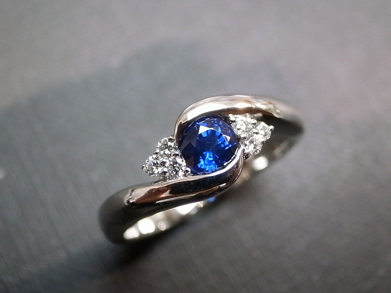 sapphire wedding bands Blue Sapphire Rings Diamond Rings Engagement Rings Wedding Band Gemstone Rings Women Jewelry Personalized Jewelry 14K White Gold