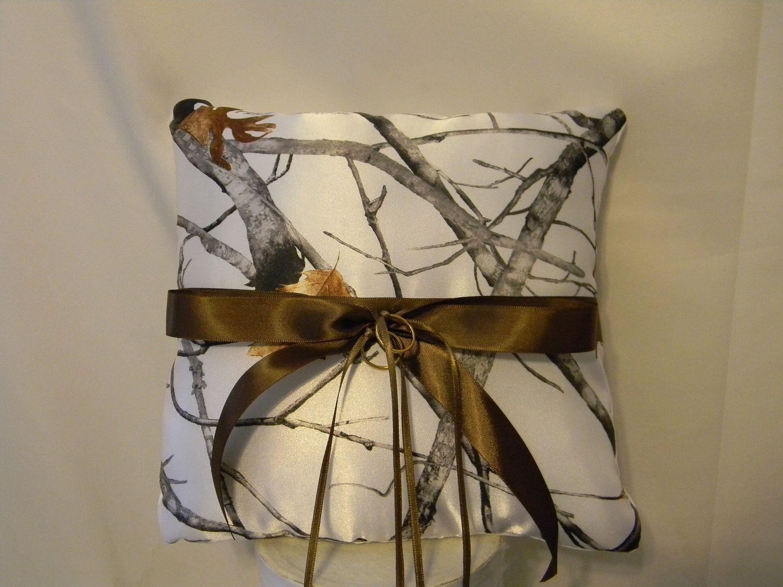 womens camo wedding rings Wedding Ring Bearer Pillow custom made camo shown in White snow camo also pink camo and