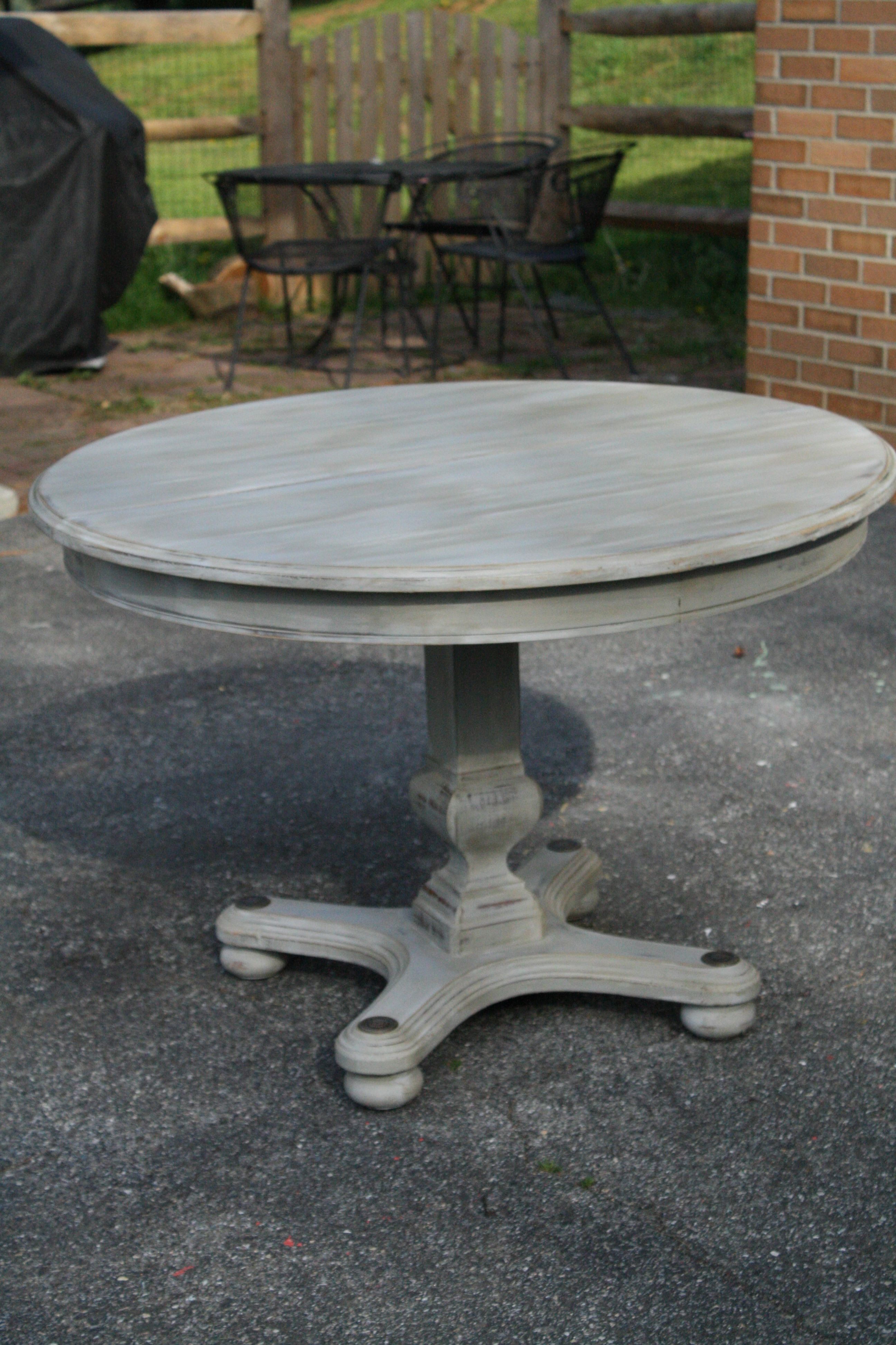 whitewash kitchen table Primitive Proper Weathered Paris Gray Dining Table using Briwax