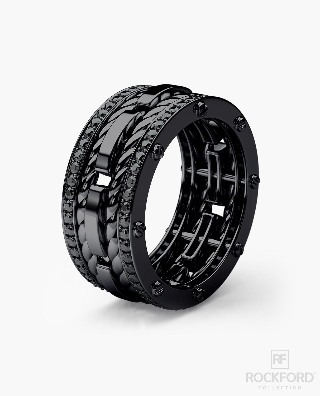 mens black wedding rings ROPES Black Rhodium Gold Mens Wedding Band with 1 05 ct Black Diamonds