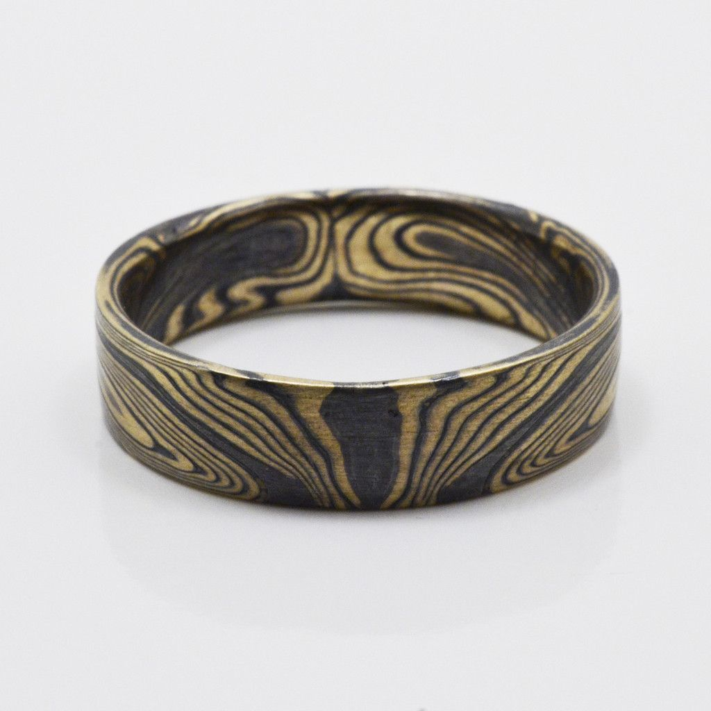 mokume gane wedding bands Book matched Mokume Gane Ring in 14kt Yellow Gold and Oxidized Silver