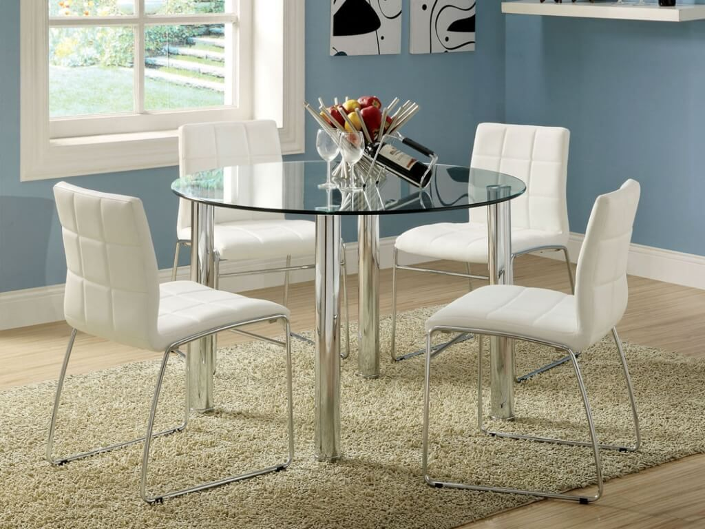 white kitchen chairs Dining Room Marvelous Round Glass White Dining Table With White Leather Dining Chairs And Metal