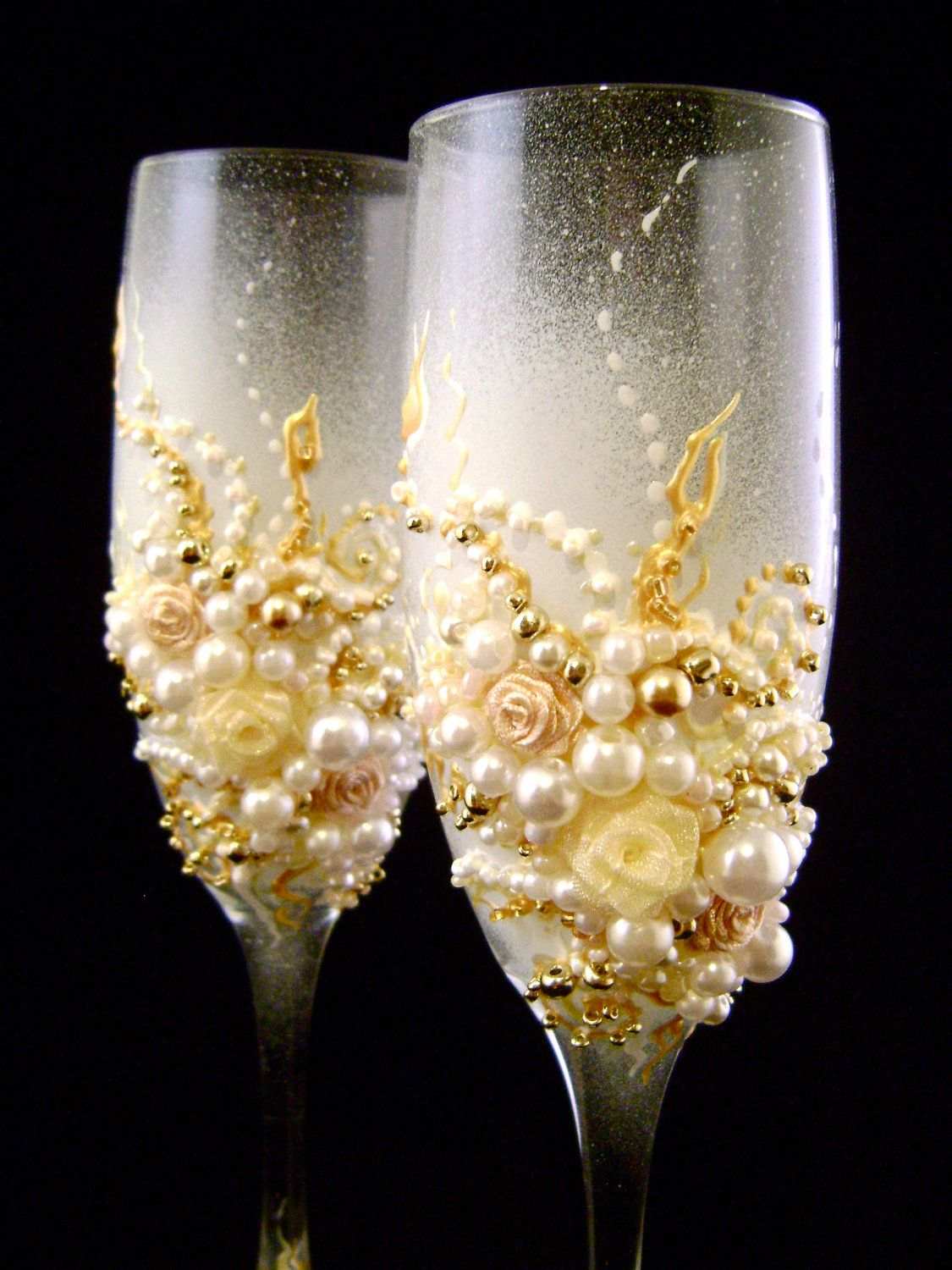 wedding glasses champagne colored wedding Elegant wedding champagne glasses hand decorated with roses and