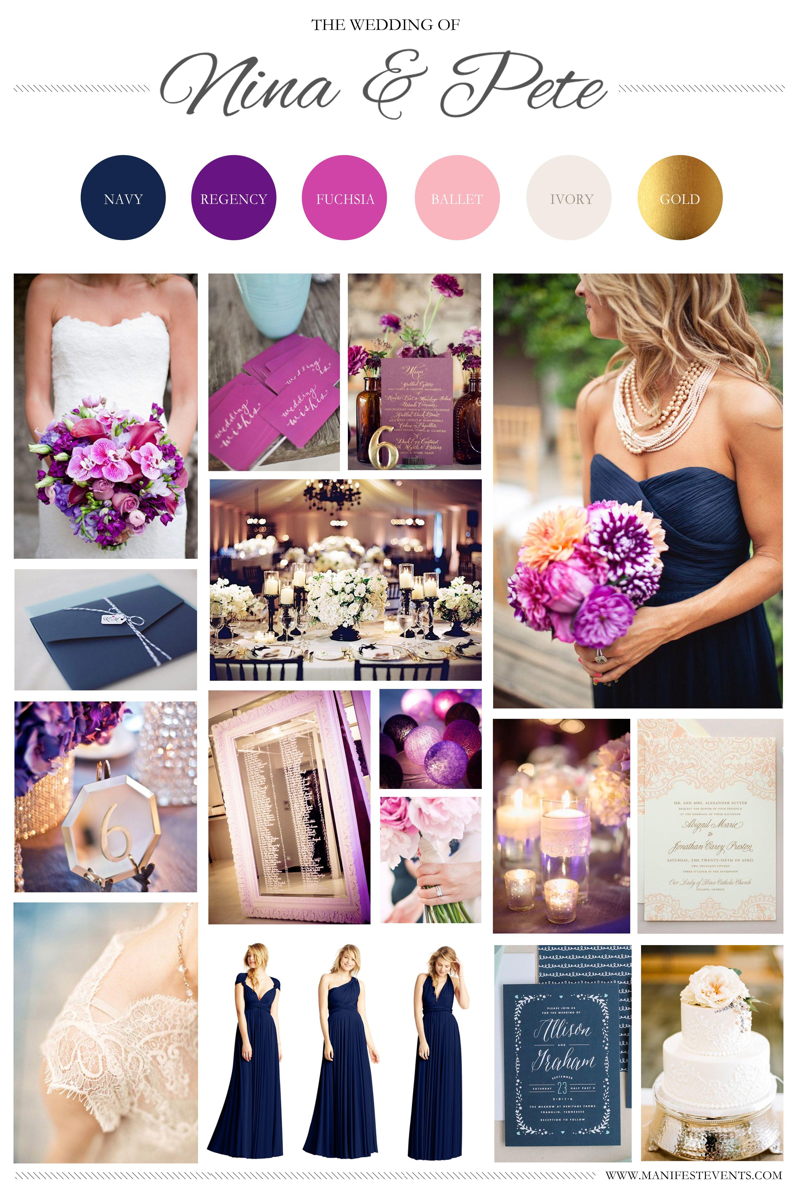 purple and gold wedding A purple navy pink gold wedding board www manifestevents