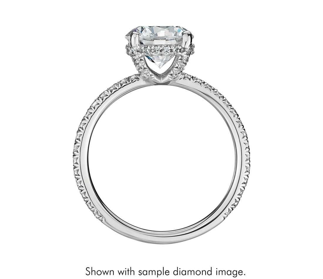crown wedding rings Blue Nile Studio Petite French Pav Crown Diamond Engagement Ring in Platinum 1 3