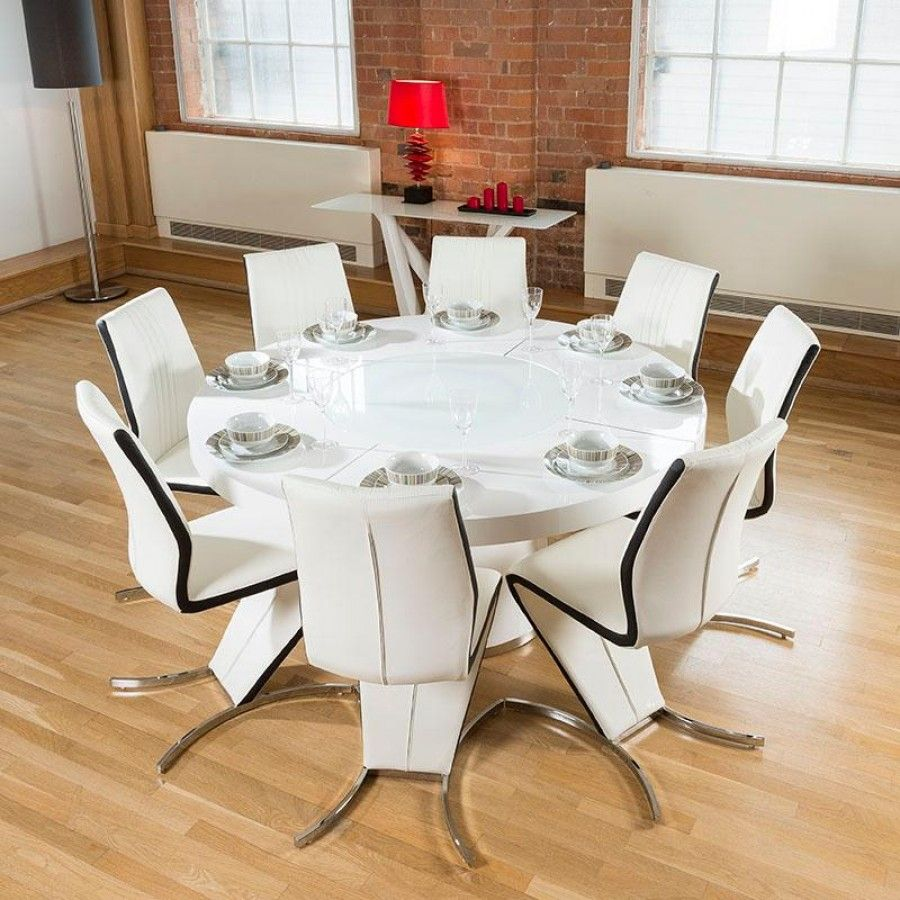 round white kitchen table Large round white gloss dining table lazy susan eight white black Z Chairs