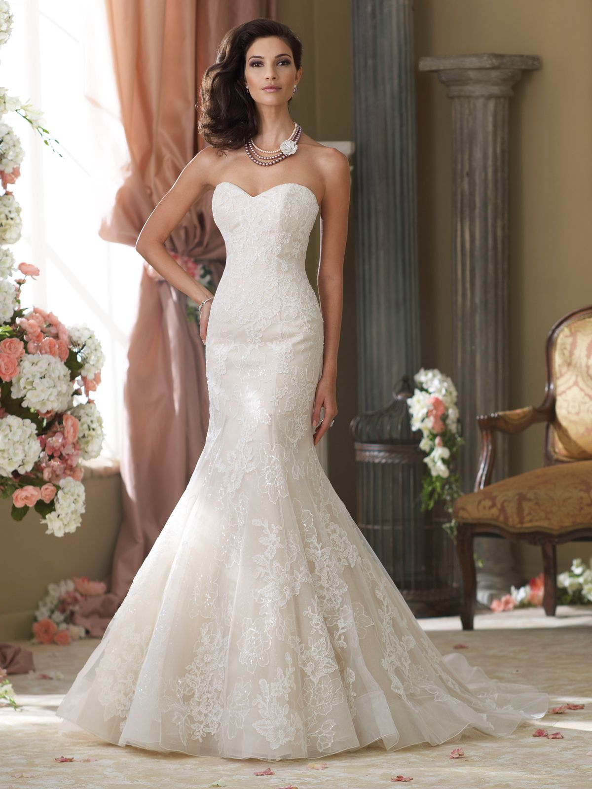 strapless mermaid wedding dresses Wedding Dresses Collection Strapless lace tulle organza and sequin over satin mermaid