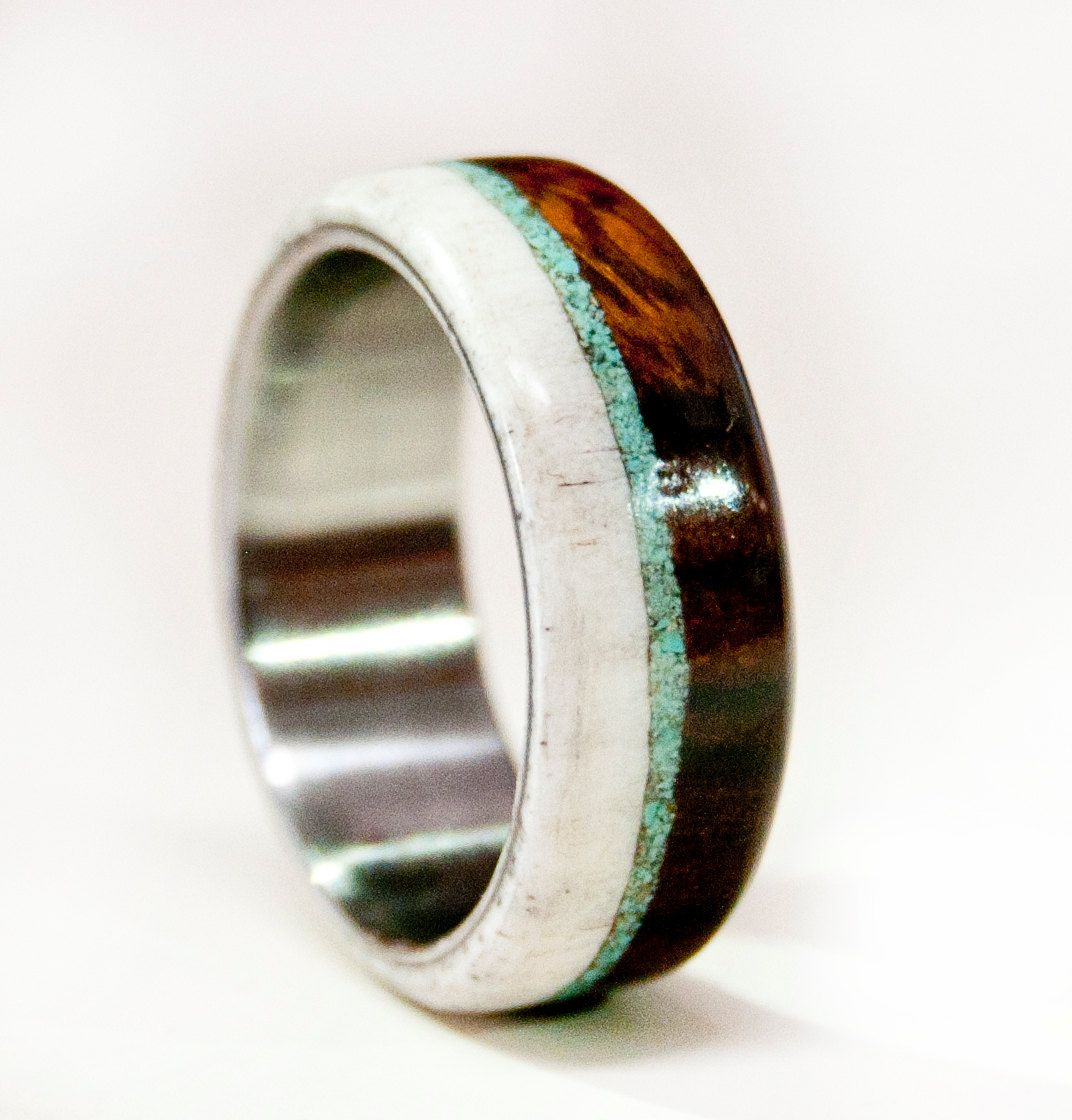wedding bands men Mens Wedding Band Wood and Antler with Titanium by StagHeadDesigns 00