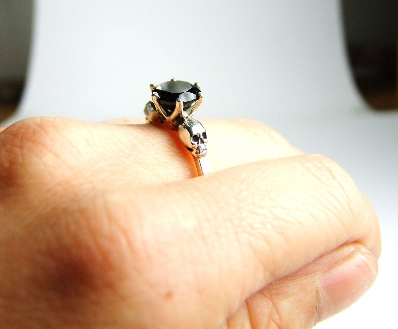 skull wedding rings Skull Engagement Ring Silver Black Spinel by KipkalinkaJewels 00