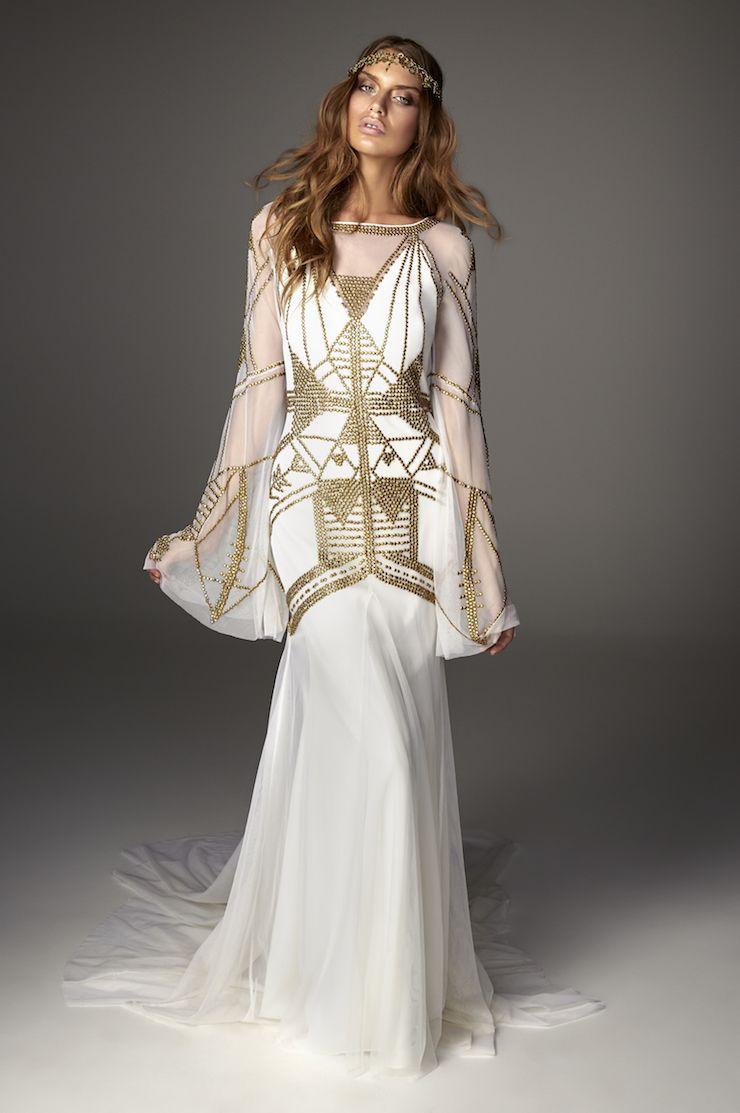 bell sleeve wedding dress Rue De Seine bell sleeve wedding dress Love Spell Collection