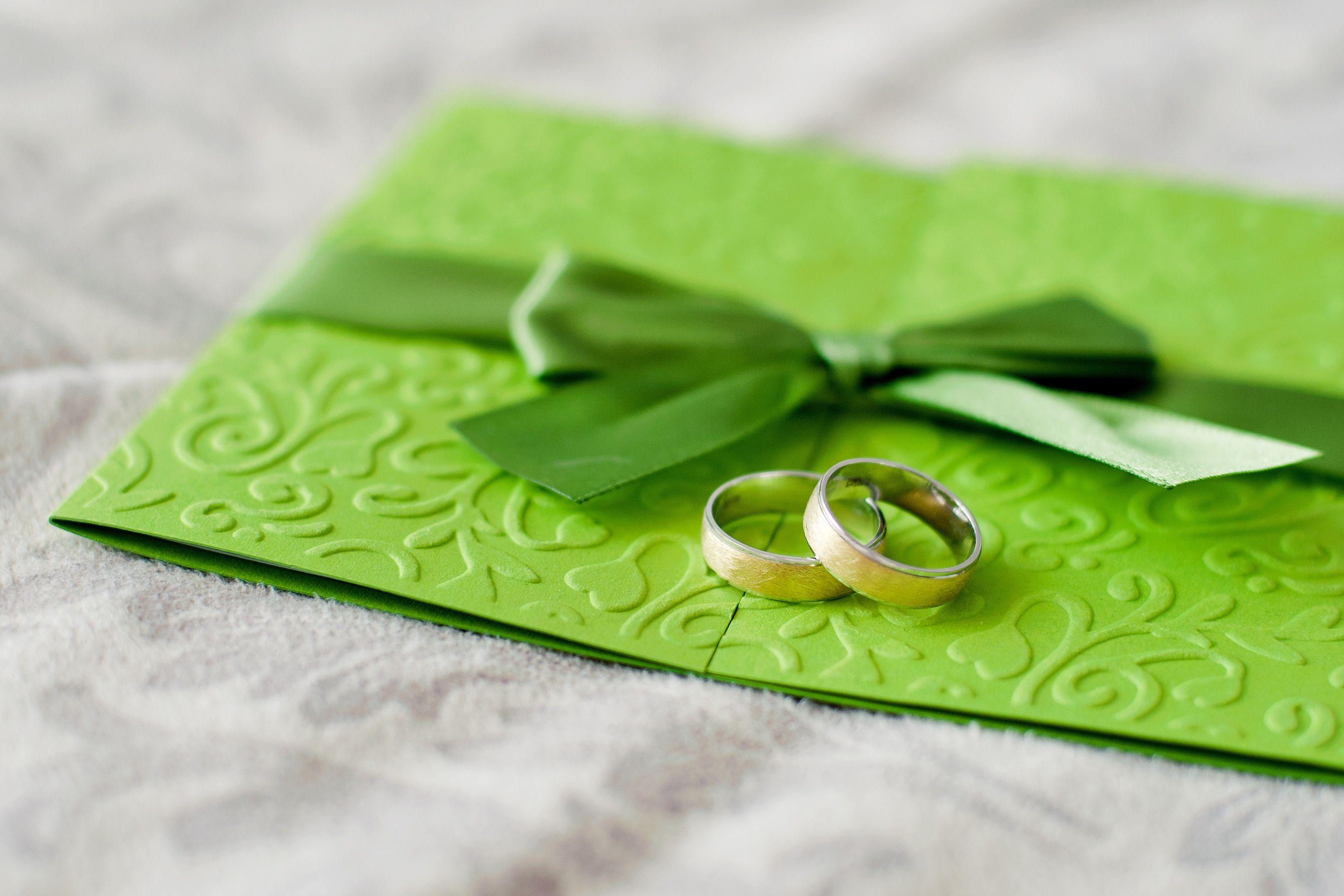 wedding invitations with ribbon Unique Green Wedding Invitation Etiquette with Ribbon CardBoo