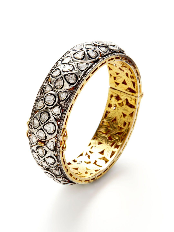 hinged wedding ring Two Tone Diamond Hinged Bangle Bracelet by Amrapali at Gilt