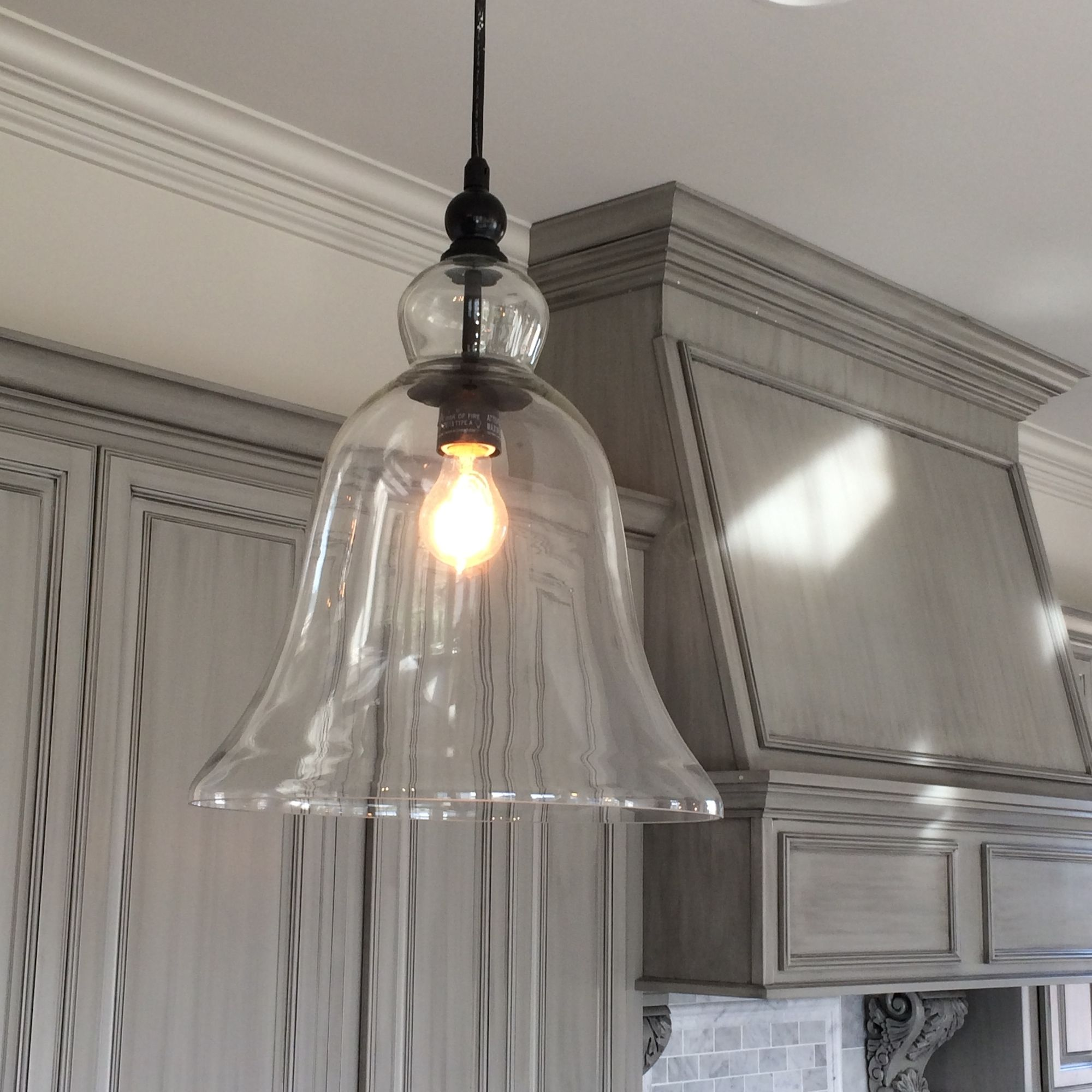 kitchen pendant light fixtures Kitchen Large Glass Bell Hanging Pendant Light