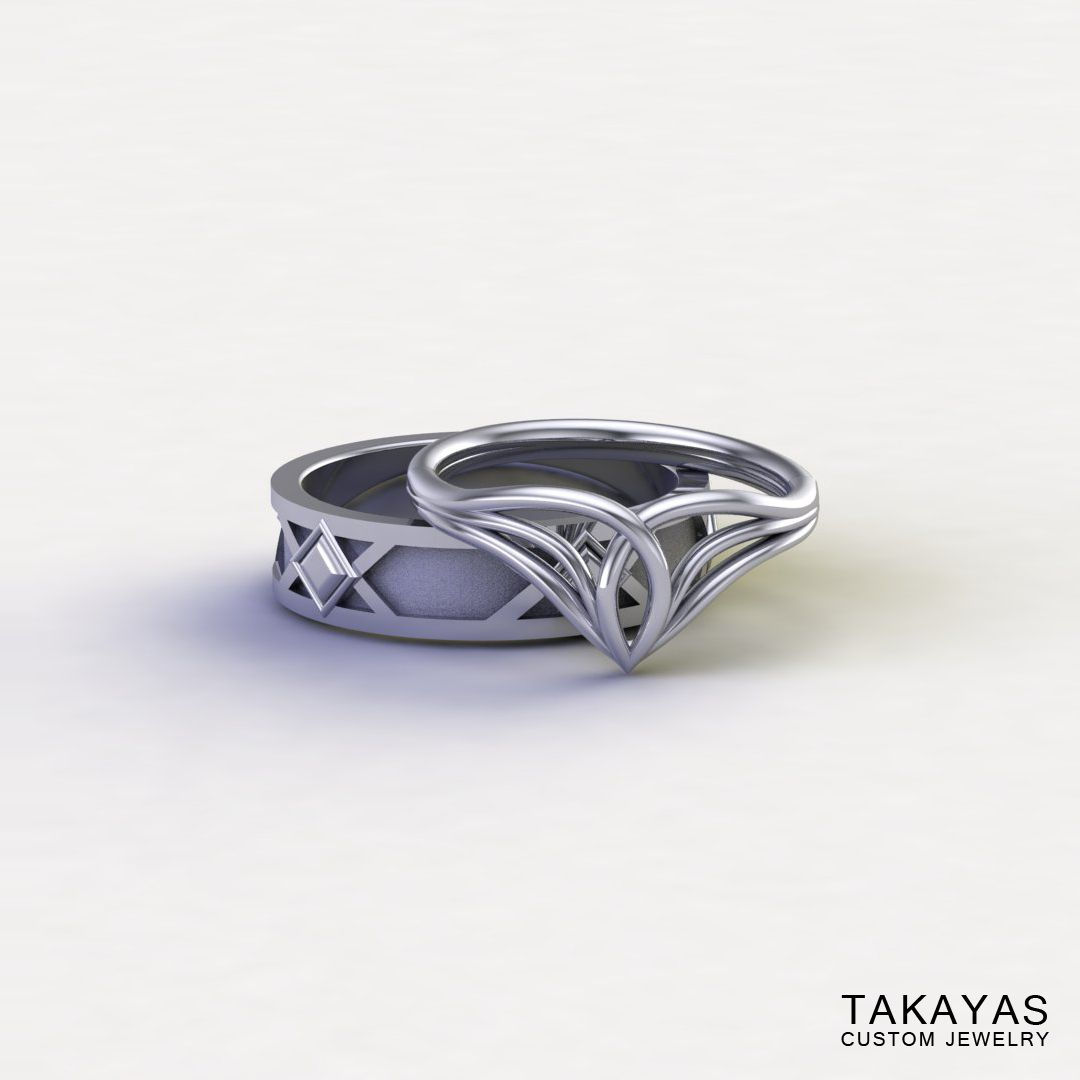 spiderman wedding ring Custom 14K white gold and Lord of the Ring inspired Elven ladies ring and Dwarven men s