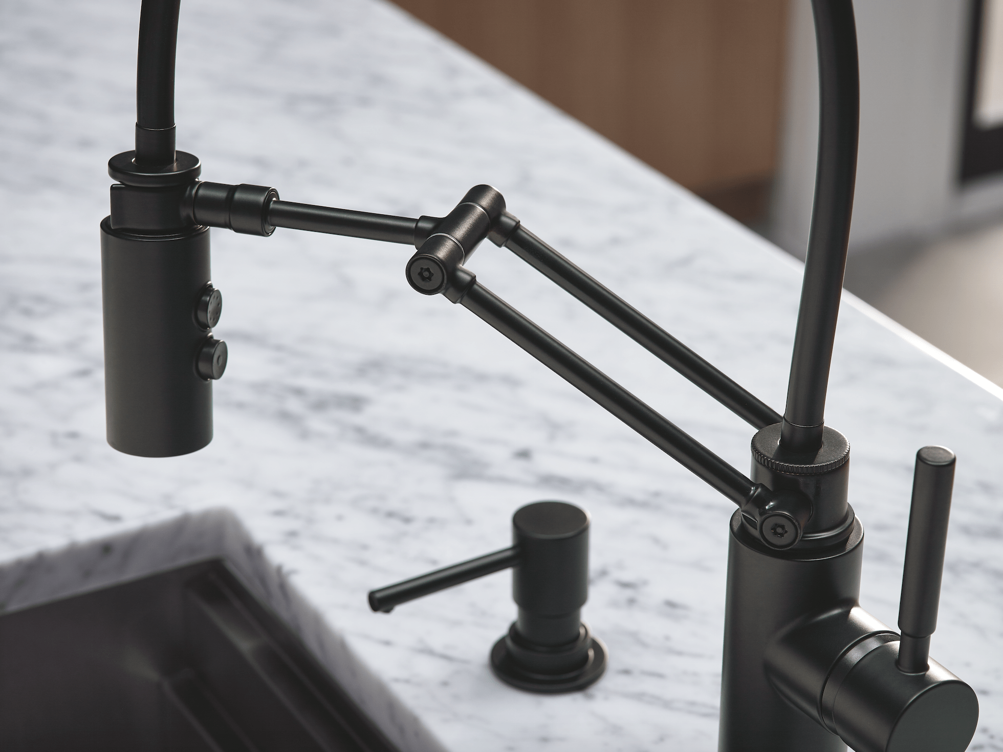 kitchen spaces black kitchen faucets The Solna Articulating Kitchen Faucet by Brizo in matte black was the hero in this modern kitchen space designed by