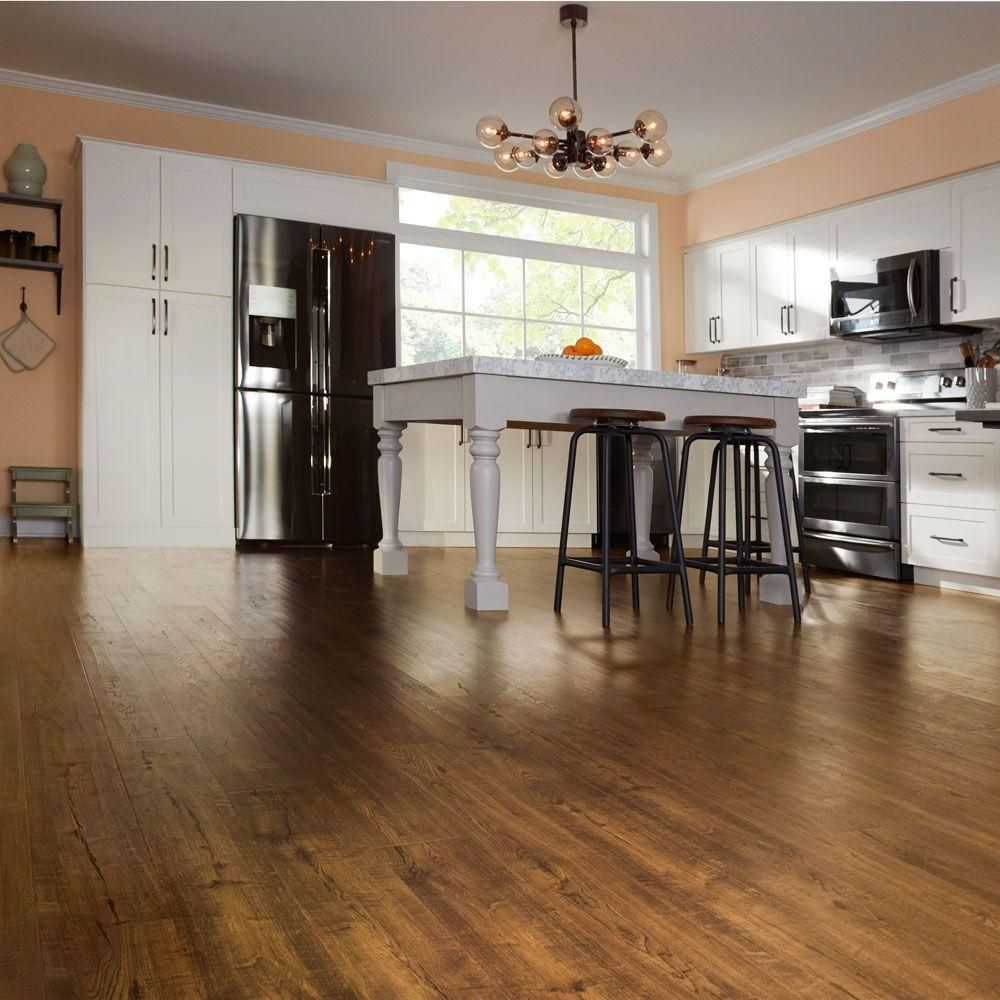home depot kitchen flooring Pergo Outlast Auburn Scraped Oak 10 mm Thick 6 1 8 in Wide 47 1 4 in Length Laminate Flooring 16 12 sq ft case