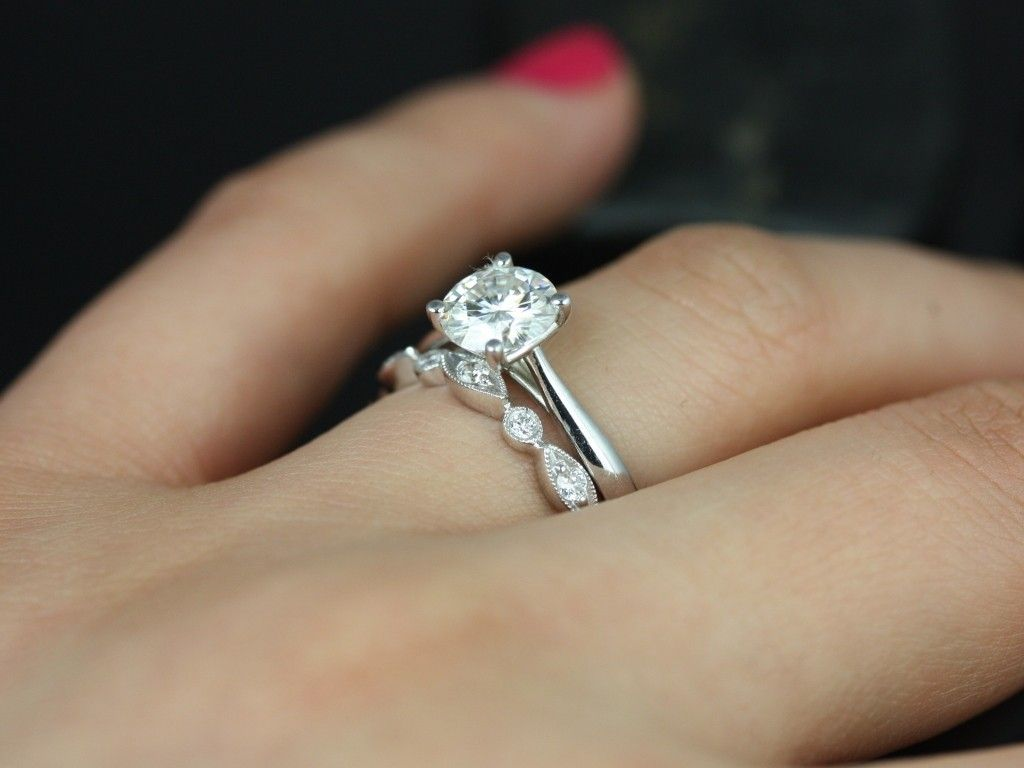 unique wedding band sets Solitaire ring either circle or cushion cut on cathedral setting with solid band and creative diamond Unique Wedding