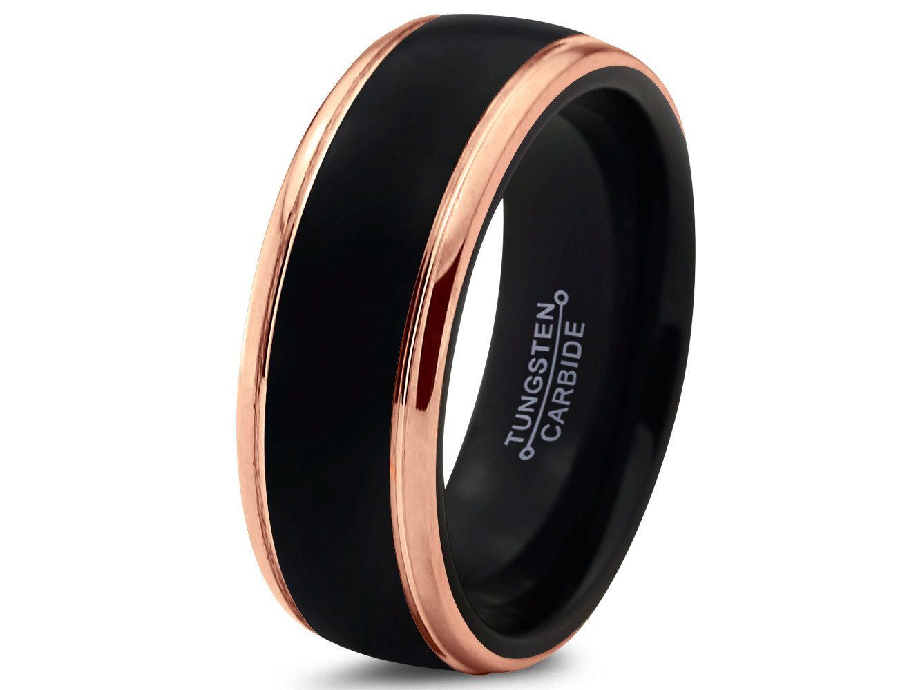 mens ceramic wedding bands Black Tungsten Ring Rose Gold Wedding Band Ring Tungsten Carbide 8mm 18K Tungsten Ring Man Wedding
