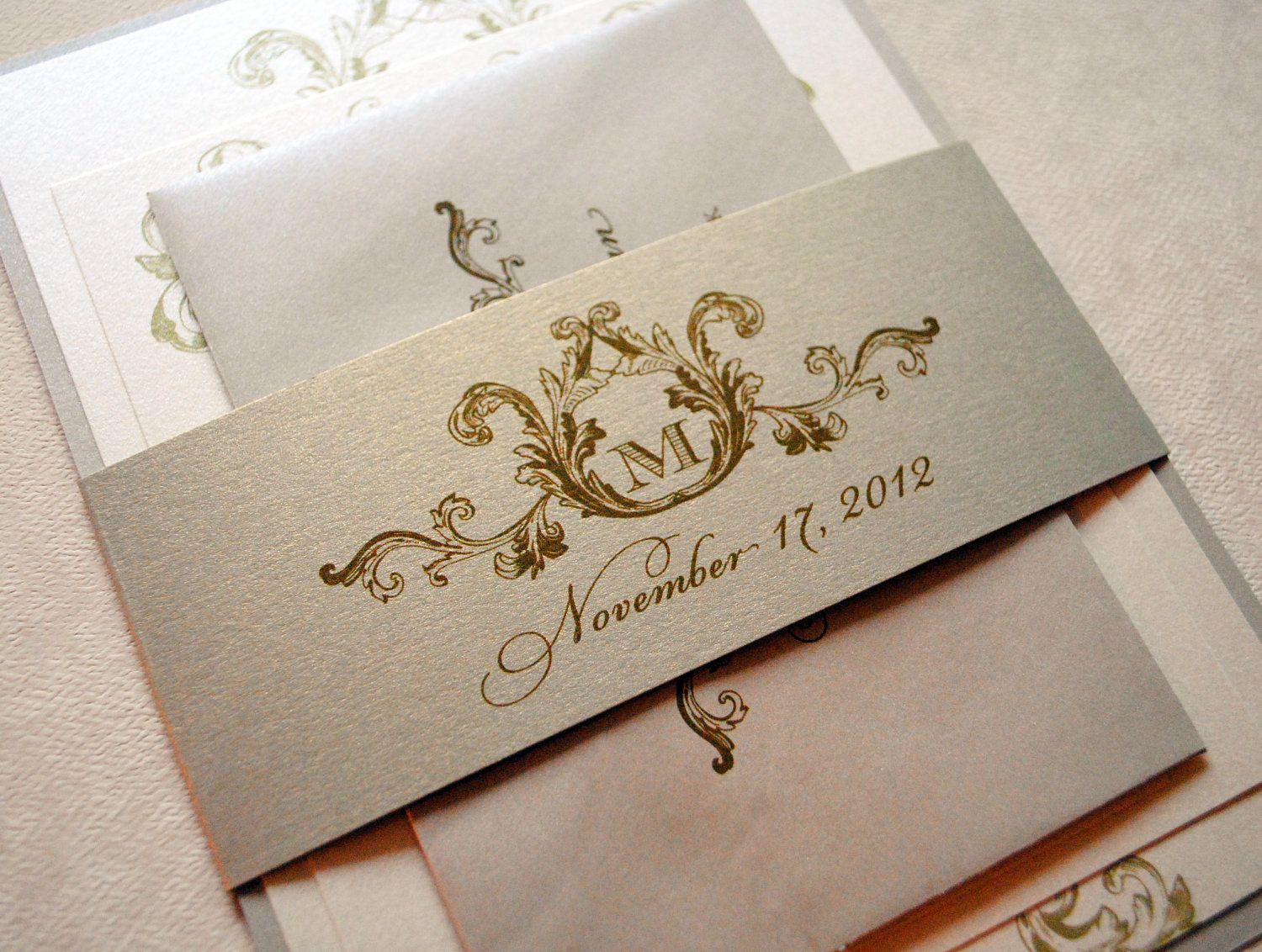 bling wedding invitations Ivory Champagne and Gold Wedding Invitations Elegant Wedding Invitations Champagne Gold