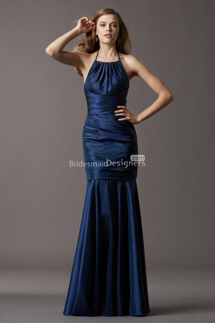 navy blue wedding dress halter mermaid sleeveless navy blue long drop waist bridesmaid dress US 00