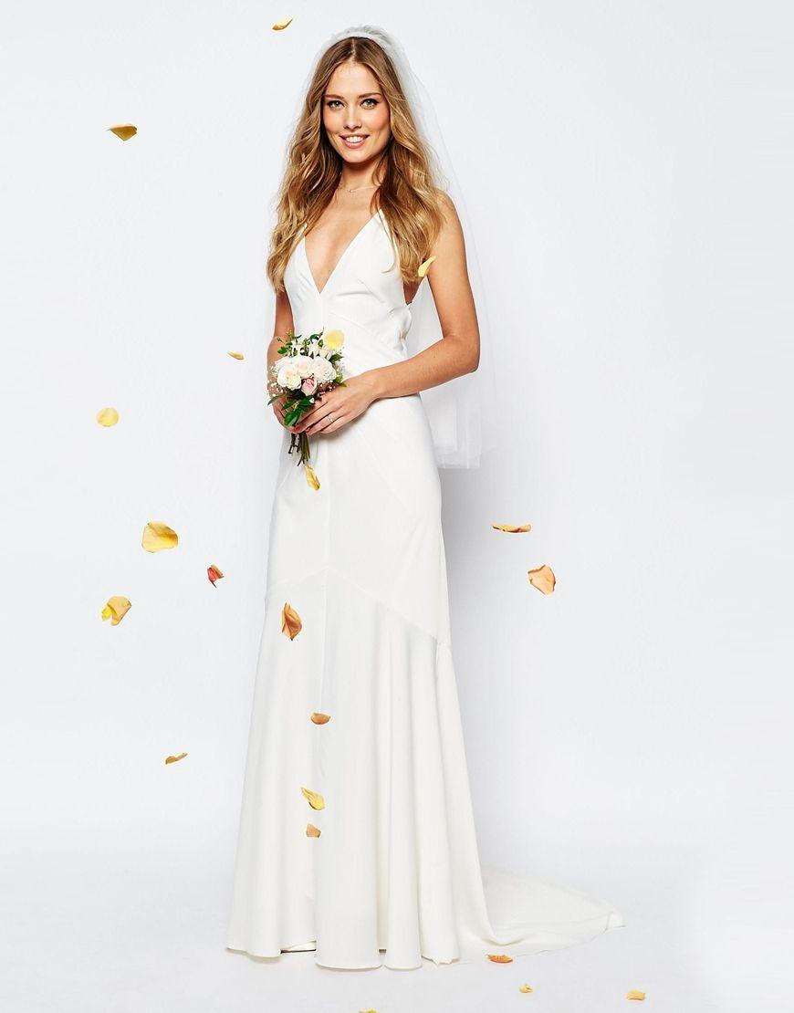 plunge wedding dress Image 4 of ASOS BRIDAL Deep Plunge Strappy Fishtail Maxi Dress