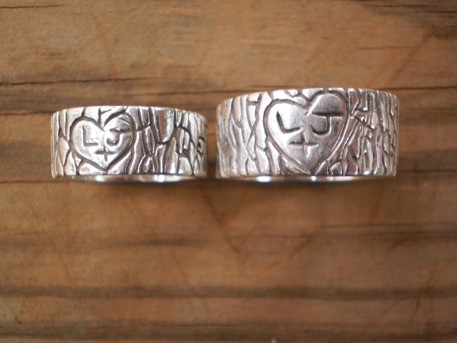 country rings country wedding bands Hand Made Initial Tree Stump Rustic Wedding Bands His And Hers by Owl Be Yours Forever