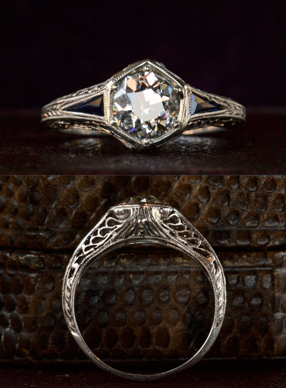 vintage wedding rings s Art Deco Hexagonal Filigree Engagement Ring 0 95ct Old European Cut Diamond in