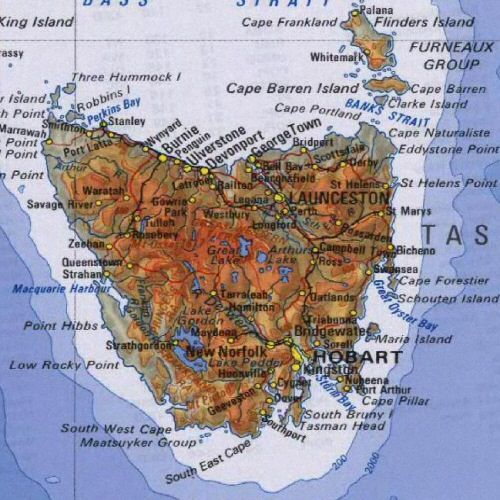 Map of Tasmania   Tasmania   Pinterest   Tasmania  Australia and     Map of Tasmania