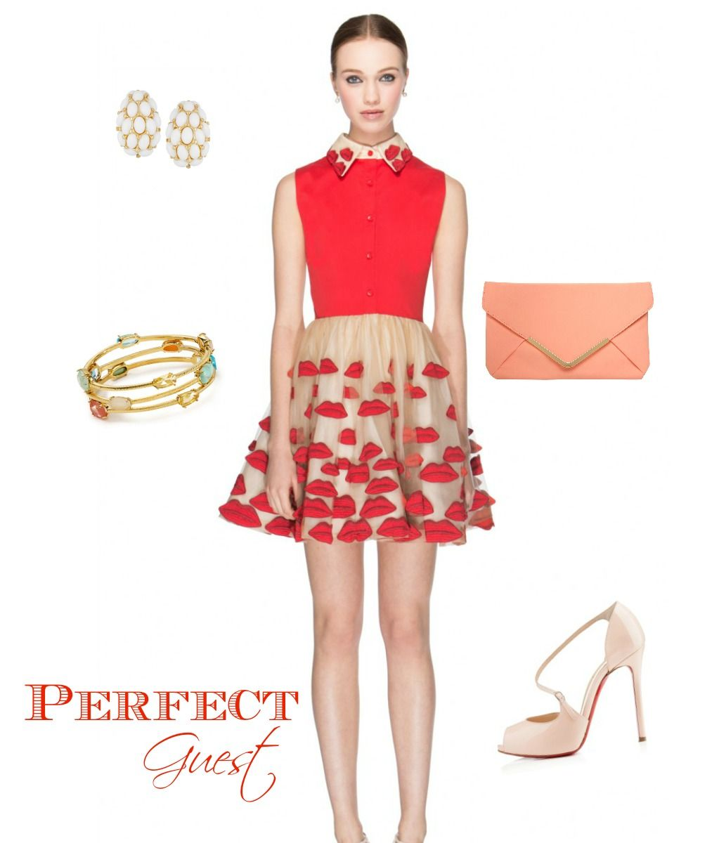 dress for wedding guest Valentine s Day Red and Nude Wedding Guest Outfit
