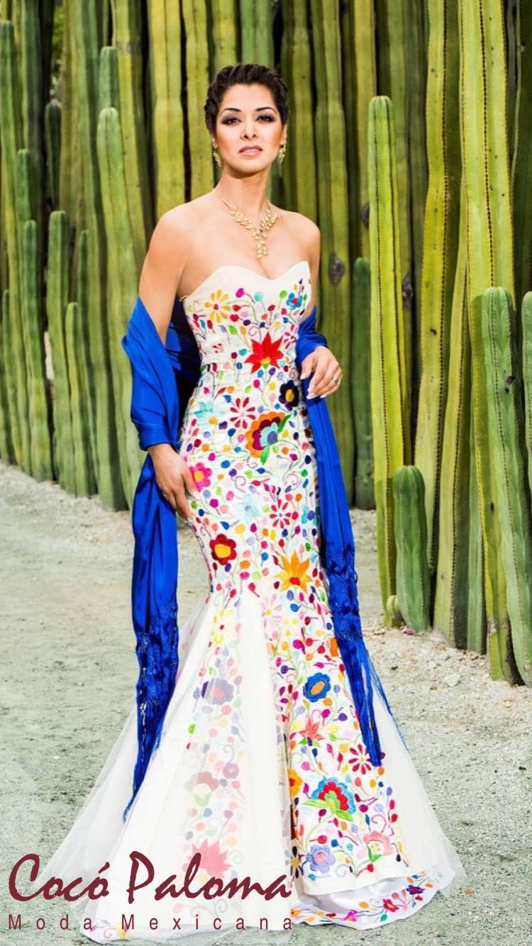 mexican wedding dress Hermoso vestido creacion de Coco Paloma Mexican DressesMexican