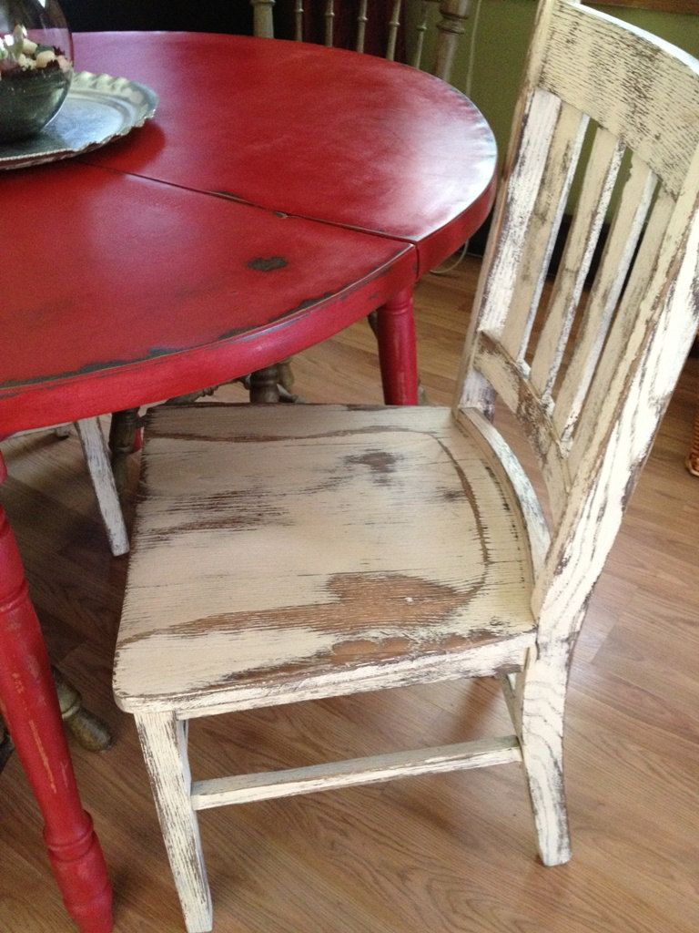 red kitchen table Distressed Round Country Kitchen Table The chair is a little TOO distressed for me but