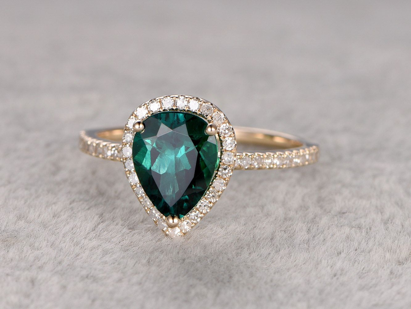 emerald engagement ring emerald wedding rings Emerald Engagement ring Yellow gold Halo Diamond wedding ring 14k mm Pear Shaped Cut Green Treated Gemstone Promise Anniversary Ring Fine