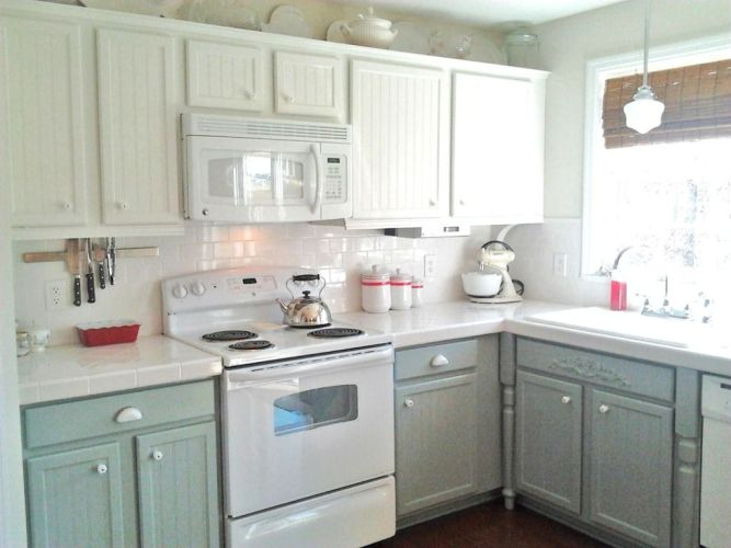 white kitchen countertops I like this with the white tops white backsplash and the grey bottoms