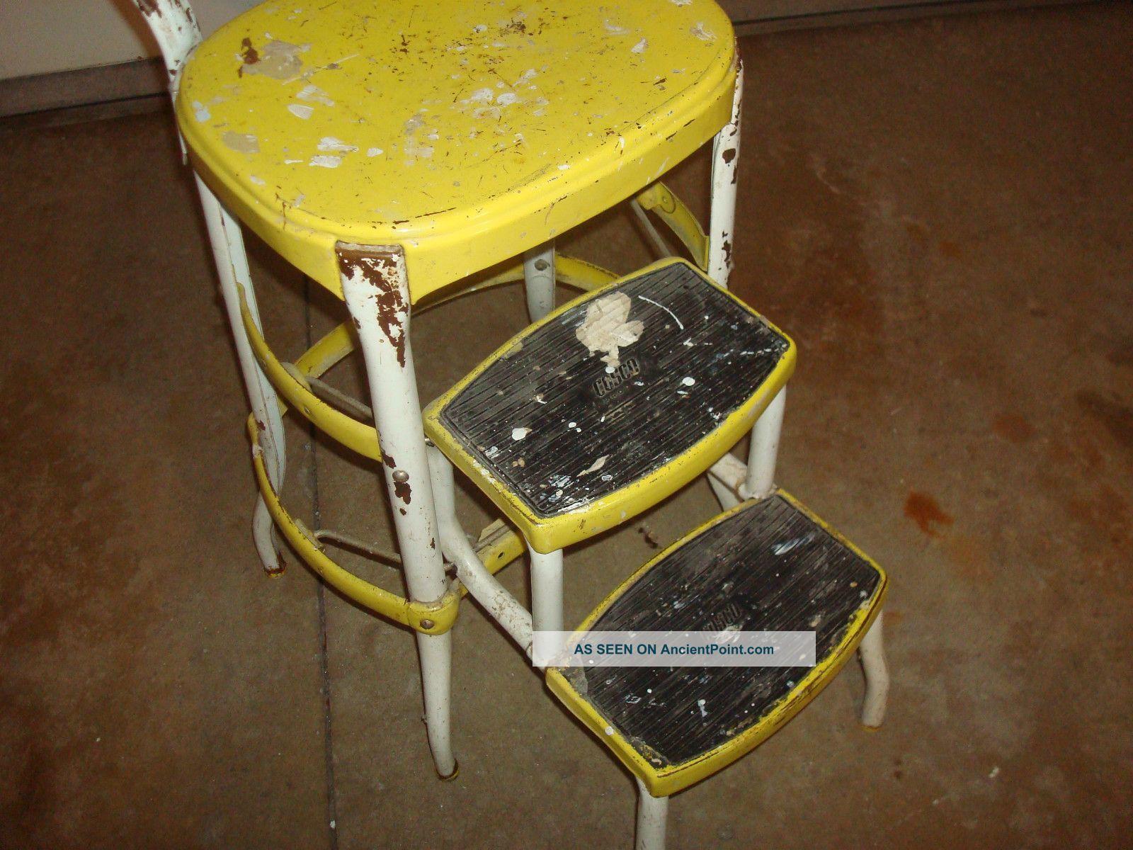 retro kitchen chairs cosco step stools chairs Vintage Retro Yellow Cosco Step Stool Mid Century Kitchen Steel