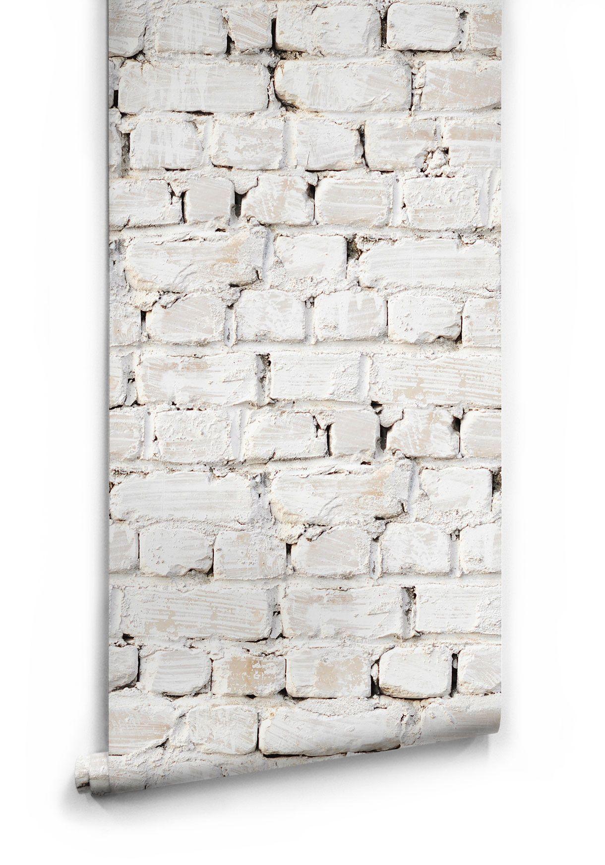 kitchen wallpaper designs Sample of Whitewash Bricks Boutique Faux Wallpaper design by Milton King