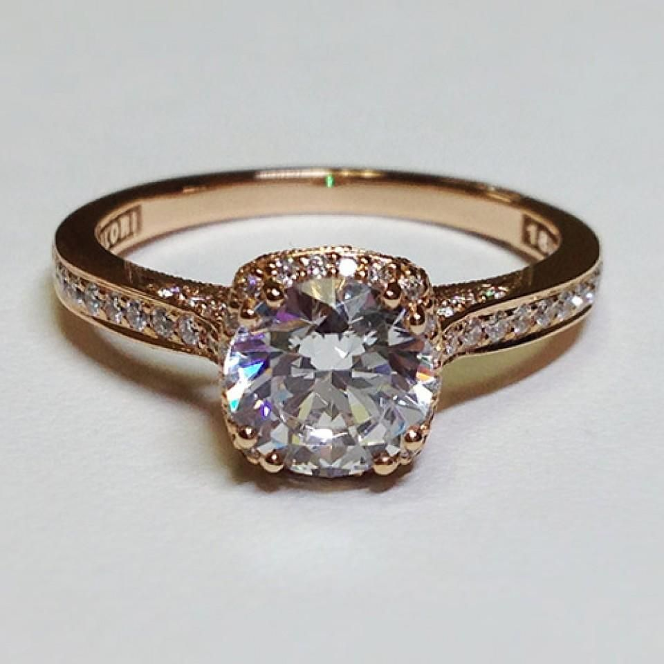 tacori wedding ring Possibly a different shape diamond if not then just bigger so it pops next to the small diamonds tacori gold engagement ring I never wear silver anymore