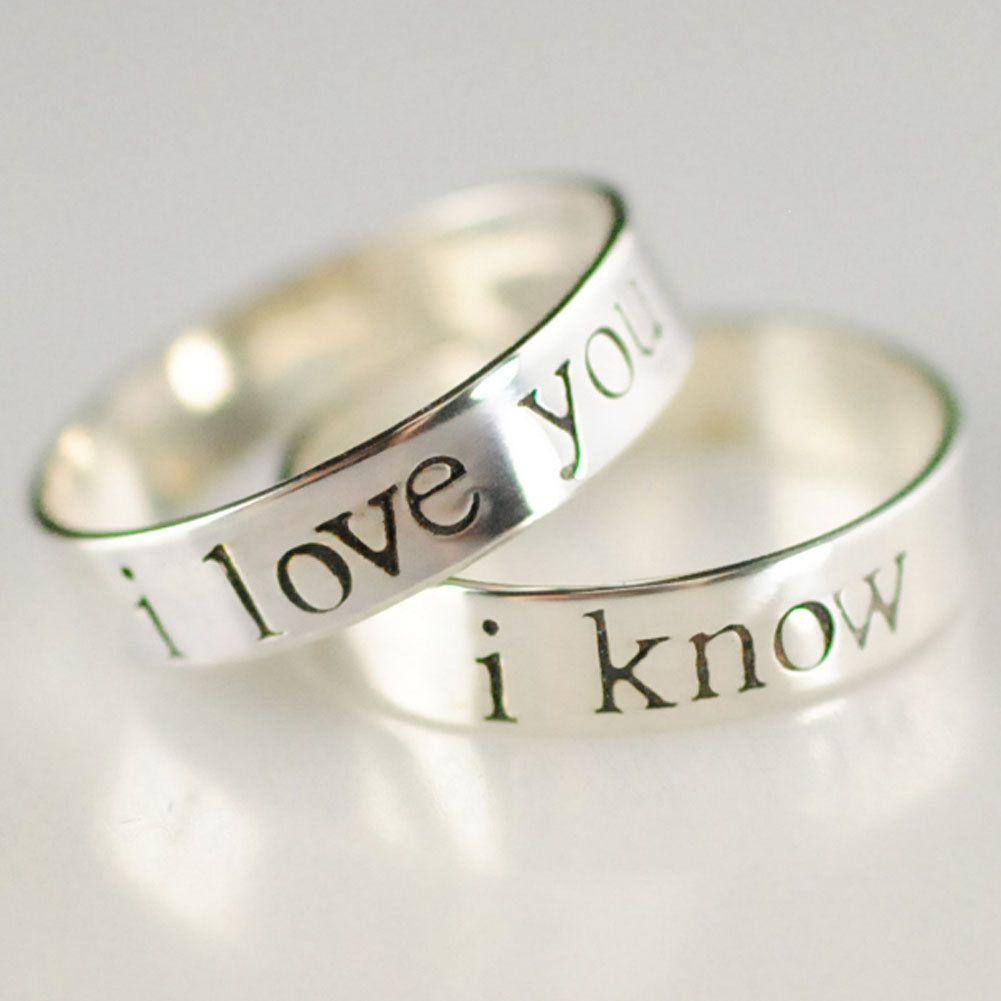 star wars wedding rings Star Wars Rings Han Leia Pair of Solid Sterling Silver Wedding Bands