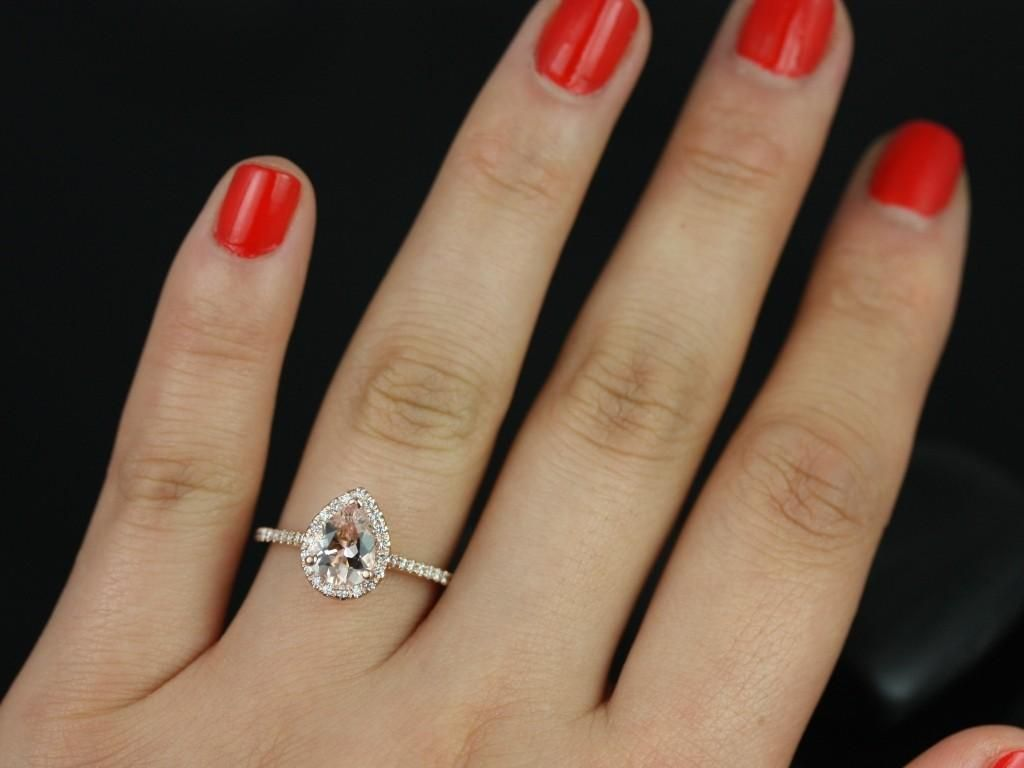 tear drop wedding ring Tabitha mm 14kt Rose Gold Pear Morganite and Diamonds Halo Engagement Ring Other metals and stone options available Teardrop