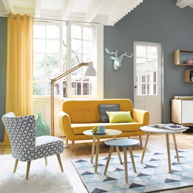 Maisons du Monde   Living room ideas   Pinterest   Yellow sofa     Maisons du Monde