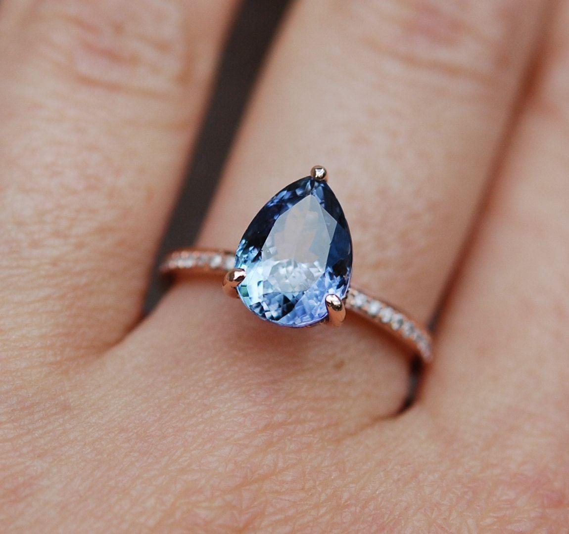 tanzanite wedding rings Tanzanite Ring Rose Gold Engagement Ring Lavender Mint Tanzanite pear cut halo engagement ring 14k rose gold