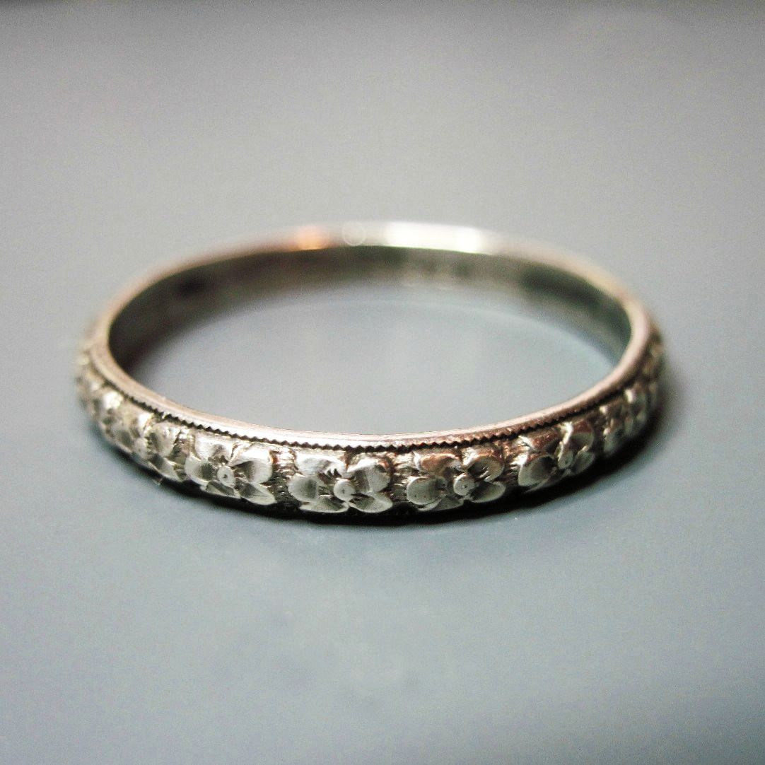 vintage wedding rings Mens Vintage Art Deco Wedding Band Ring Uncas Sterling Silver Size 11 25 Narrow Floral Flowers Stacking Ring s